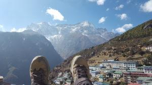 Zsuzsi at Namche, Nepal